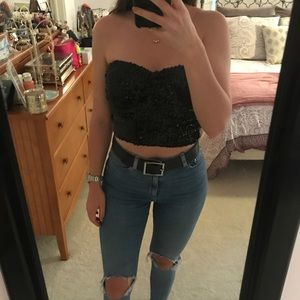 Tops - Black Sequin Tube Top